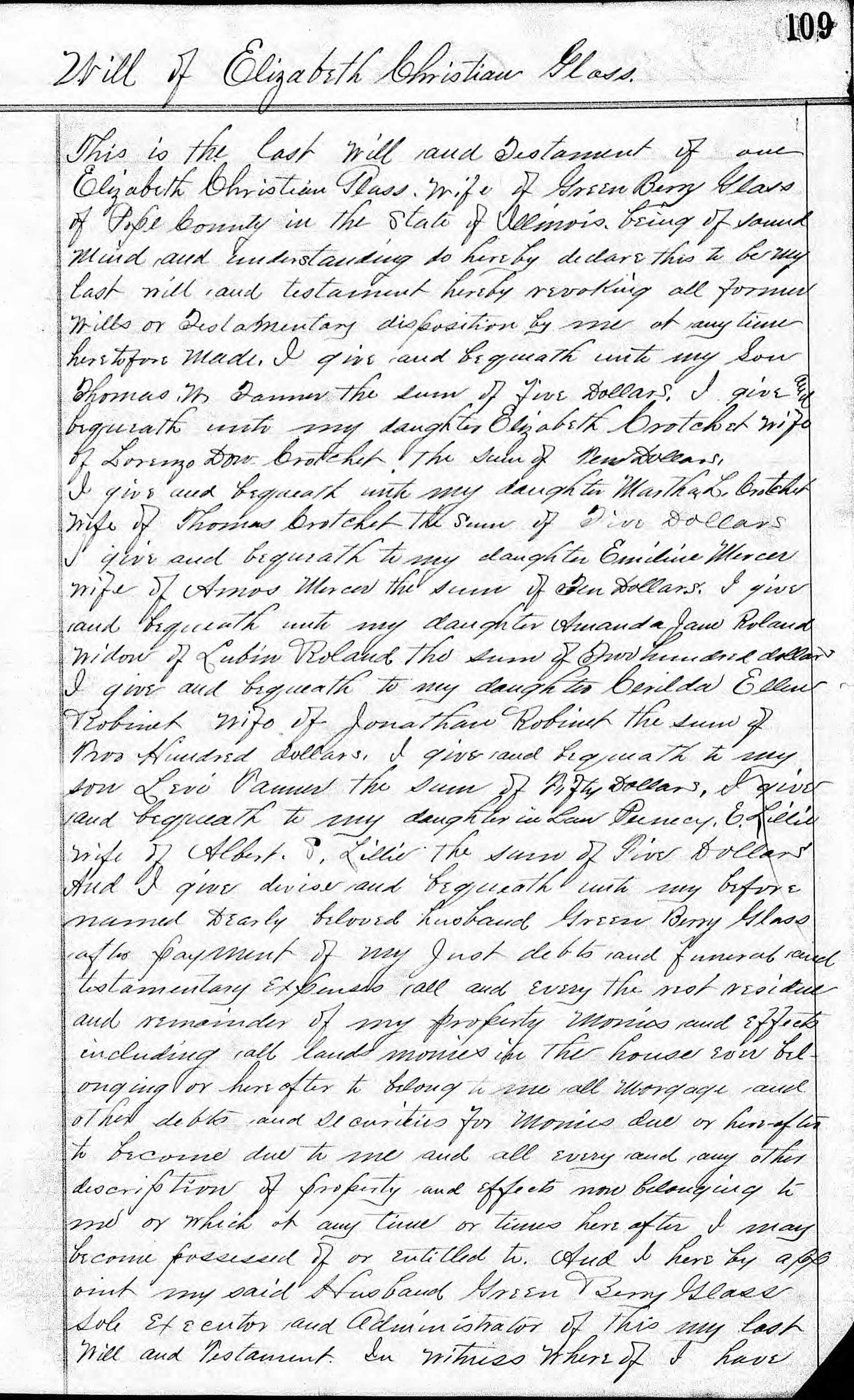 Friede-Abrahamson Genealogy Site - Will of Elizabeth ...